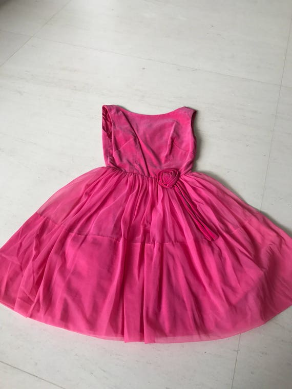 Pretty 1950s velvet chiffon dress