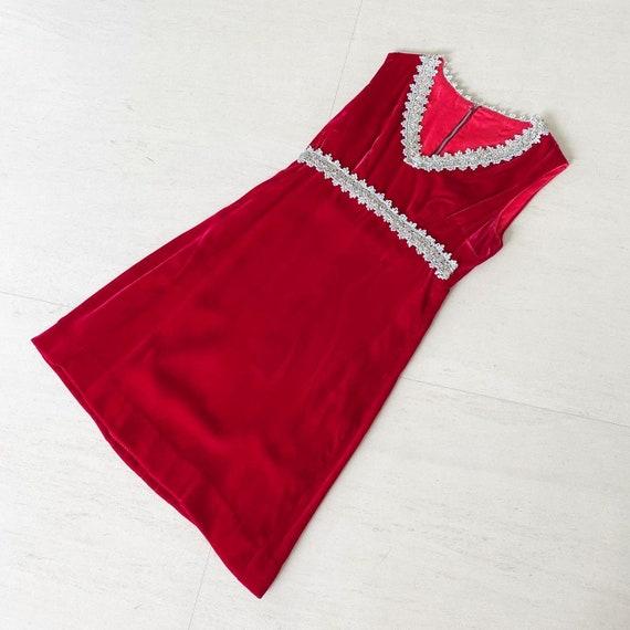 Glamorous Red Velvet 60s Dress