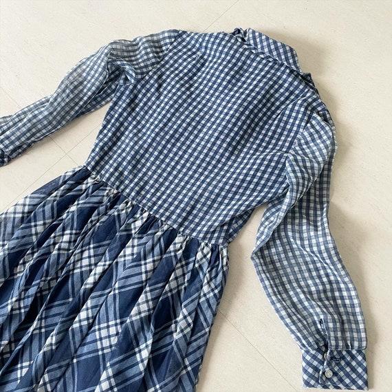 Navy White Gingham Cottagecore Dress - image 8