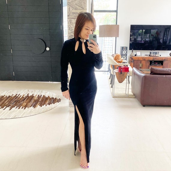 Sexy Black Velvet Maxi Dress with Cut-Out Neckline