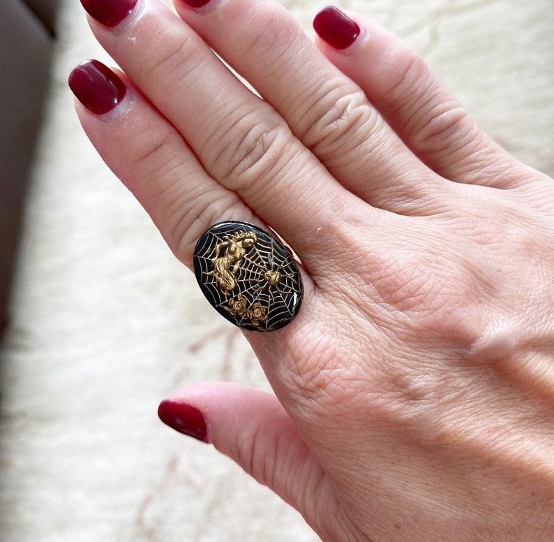 Gorgeous Repurposed Spiderweb Nymph Czech Glass Cabochon Ring