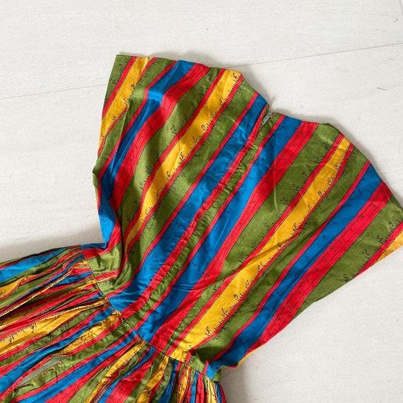 Rainbow Measuring Tape Novelty Print 50s Dress - image 8
