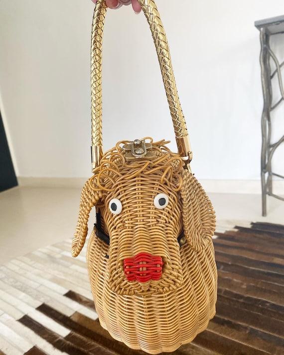 Cutest Ever Puppy Dog Novelty Wicker Purse - image 2