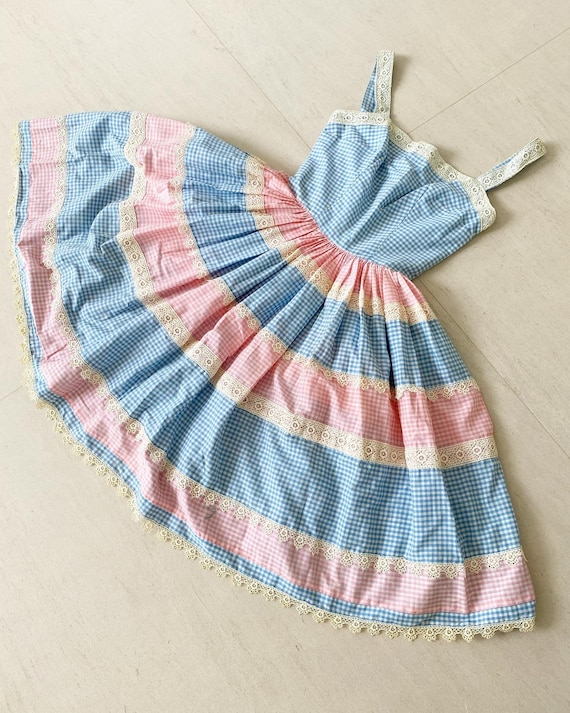 Pretty Blue and Pink Gingham Dress
