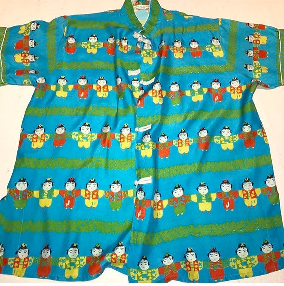 Crazy cute 1950s Japanese Kids Novelty Print Top