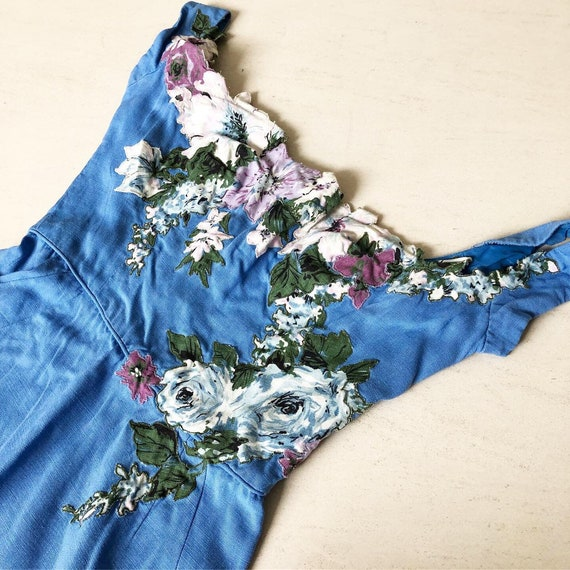 Gorgeous 50s Peggy Hunt with Floral Applique
