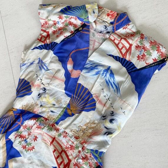 Gorgeous Dragon Print 40s Hawaiian Dress