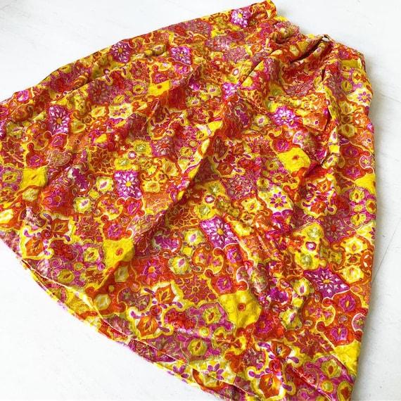 Stunning Psychedelic Maxi Brocade Skirt