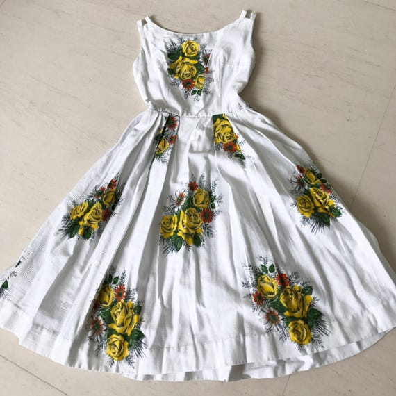 Lovely 1950s Yellow Rose Dress XS