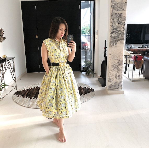 Adorable 1940s Lanz Novelty Print Fishing Dress