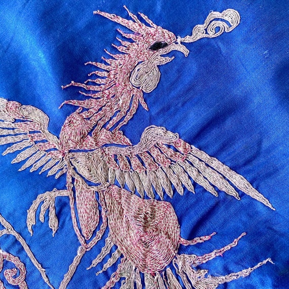 Amazing Embroidered Dragon Phoenix 40s Dress - image 5