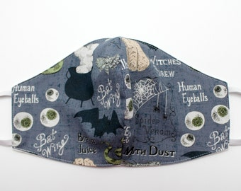 Fabric Mask, Mask with Elastic Ear Loops, 100% Cotton Fabric, Double Fabric Layers, Washable, Reusable, Adult Size, Made in USA, Witch, Brew
