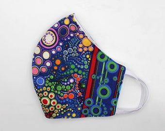 Fabric Mask, Mask with Elastic Ear Loops, 100% Cotton Fabric, Double Fabric Layers, Washable, Reusable, Adult Size, Dots, Bubble, Stripe