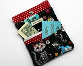 Wallet, Fabric Wallet, Credit Card Wallet, Business Card Holder, Unisex, Card Slots, Zipper Pocket, Vegan Product, Cat, Skeleton, Oddity