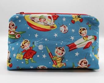 Toiletry Bag, Fabric Toiletry Bag, Make-Up Bag, Cosmetic Bag, Water Resistant Interior, Laminated Fabric, Wet Bag, Space Kids, Rocket, Retro