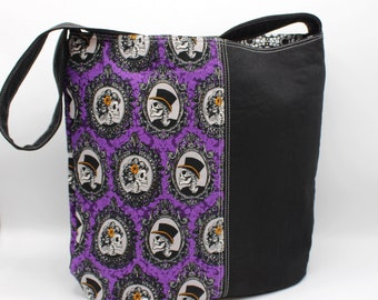 Bucket HandBag, Fabric Handbag, Medium Size Handbag, Shoulder Bag, Zipper Closure, Cameos, Skeleton, Oddity, Curiosity, Top Hat, Portraits