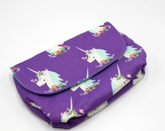 Pouch, Cotton Fabric Pouch, Multipurpose Pouch, Cosmetic Pouch, Toy Pouch, Fabric Case, Mask Case, Unicorn, Butterfly, Fantasy, Mythical