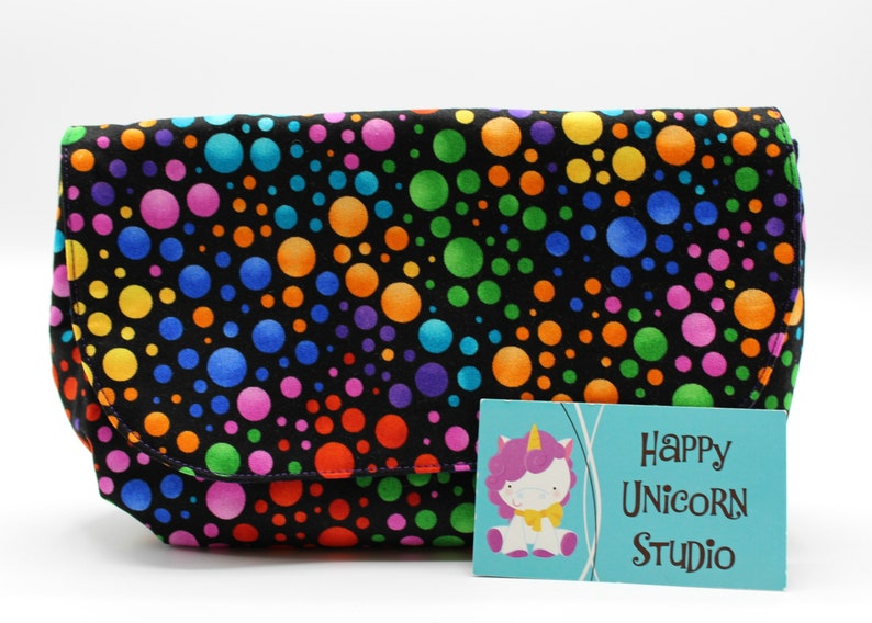 Pouch Bridesmaid Gift Polka Dots Snap Cotton Fabric Pouch Rainbow Gay Pride Pride Flap Organizer Gift Multi Use Pouch Design