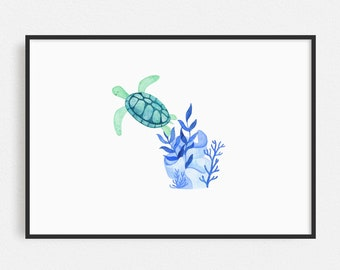 Nautical nursery decor, Sea Turtle, Under the sea wall art, Ocean nursery prints, Sea life wall art , Nursery prints, Watercolour wall art