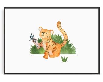 Safari Nursery Decor, Jungle Nursery Prints, Safari Nursery Art Print, Animal Art Tiger,  Baby Animal Prints, Safari Wall Art, Kids Wall Art