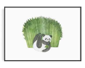 Panda, Watercolour Art, Wildlife Art, Wall Art,Painting, Wild animals, panda watercolour painting, animal, illustration, home decor, Nursery
