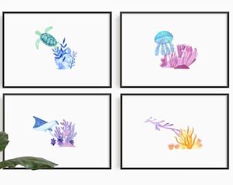Nursery Ocean life set of 4, Sea marine life, Nursery wall art,  wall art decor, under the sea, Sea Horse, Jellyfish, Manta Ray, Turtle