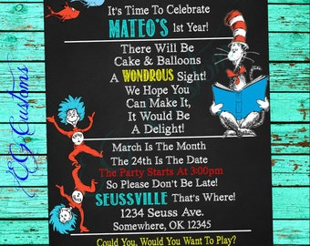 Seuss Birthday Invitation Cat In The Hat Thing 1 And 2