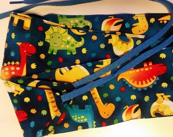 Dinosaur print fabric wrist wraps for crossfit or strength training