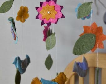 Flower Garden Birds Nursery Mobile