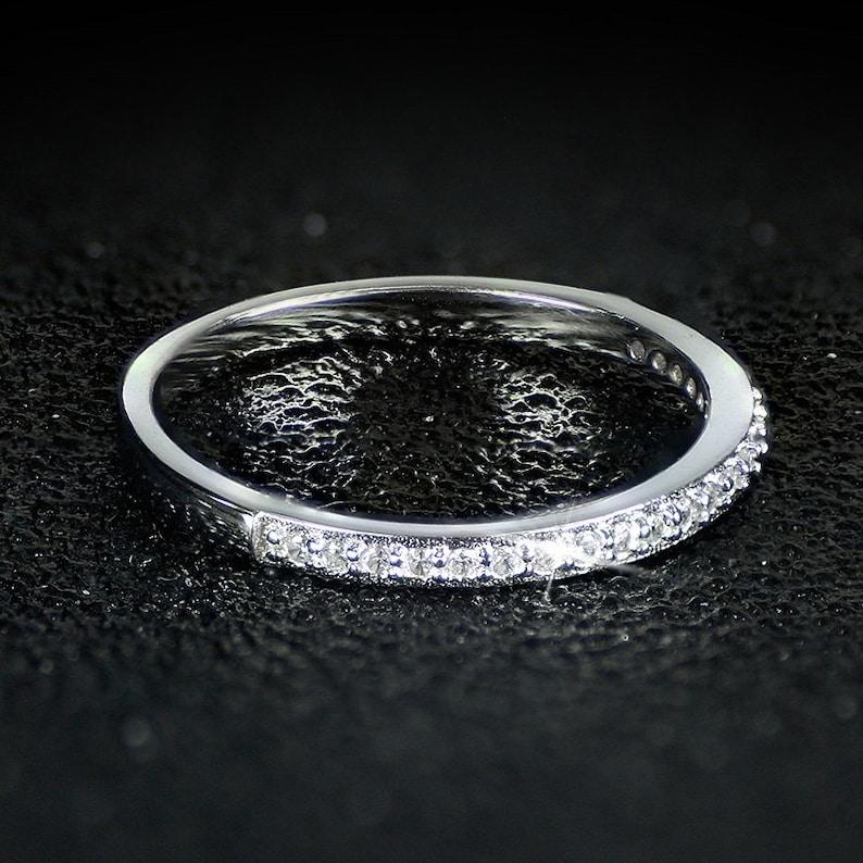 925 sterling silver AAA zirconia women double finger ring wedding couple rings
