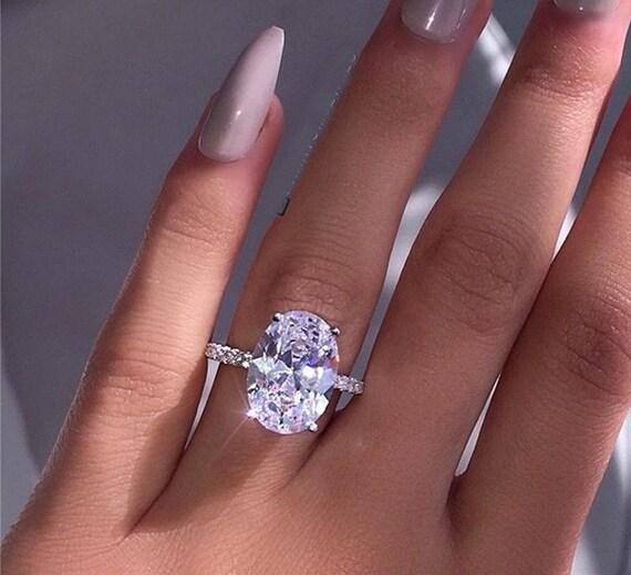 Kim Kardashian Inspired Oval Ring 925 Sterling Silver Aaaaa Cz Etsy