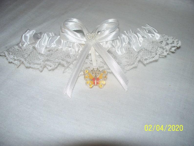 Wedding Reception Ceremony Yellow Butterfly Garter White