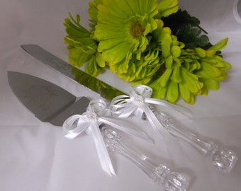 Wedding  Reception Party Cake Knife & Server White Bow and Ribbons 2 Piece Set
