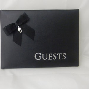 Wedding Reception Ceremony Party Biker  Motorcycle Guest Book Black Bow