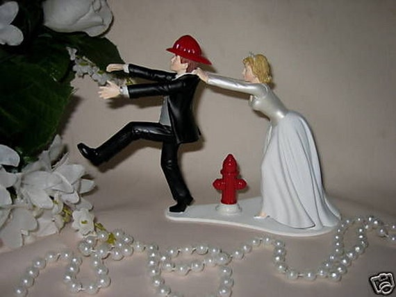 Wedding Reception Party Axe Fireman Firefighter Ball /& Chain Cake Topper
