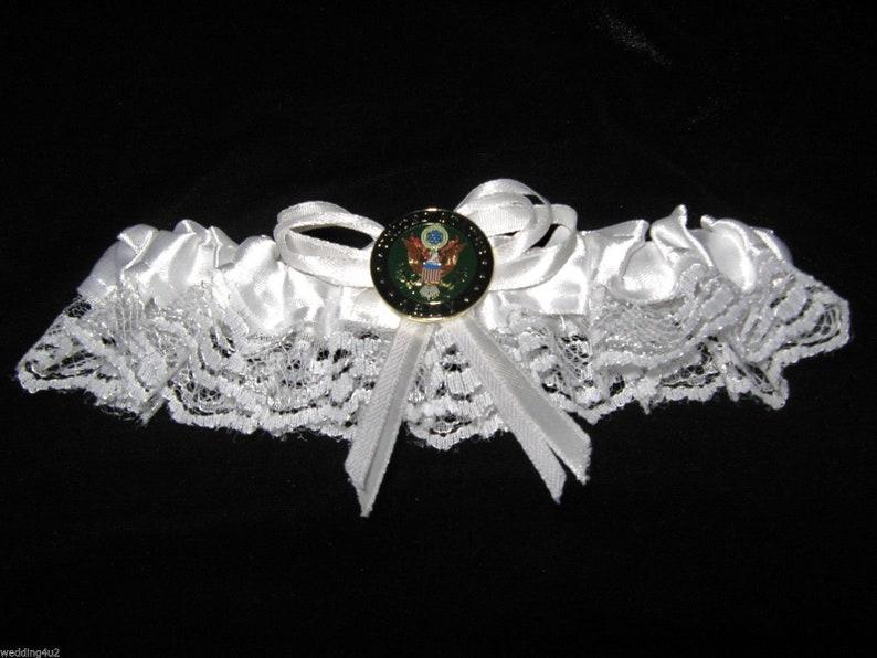 Wedding Reception Ceremony Party Army Military Bridal Garter White