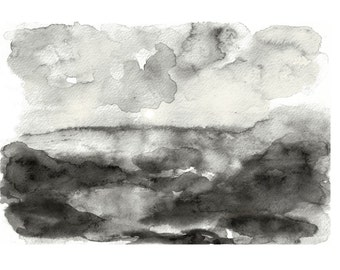 abstract landscape black and white art mountain watercolor abstract art print modern watercolor painting original abstract painting desert