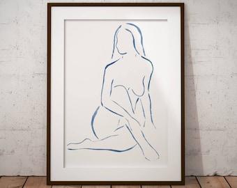 76ab9135aa nude woman print sensual woman sketch watercolor naked woman print delicate woman  painting minimal erotic art sexy woman erotic painting