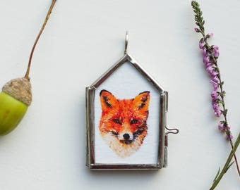 fox necklace watercolor fox pendant woodland animal necklace woodland jewelry orange necklace fox copper jewelry art picture frame necklace