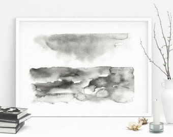 delicate abstract watercolor landscape painting monochrome landscape minimal watercolor impressionist painting before the storm black white