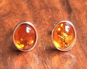 Amber Earrings Amber Jewellery Cognac Amber Ear Stud Stud Earring Womens Earrings Womens Amber Jewellery Gift For Her Birthday Gift STS23