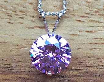 Cubic Zirconia Pendant Pink Cubic Zirconia Sterling Silver Pendant STS Jewellery STS Necklace 8mm Pendant Handmade Pendant Handmade STSP35