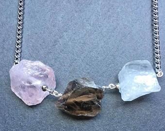 Quartz Necklace Three Quartz Necklace Rose Quartz Smoky Quartz Rock Quartz Womens Necklace Womens Jewellery Womens Accessories HMP40