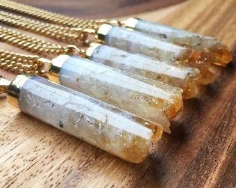 Crystal Pendant Citrine Pendant Citrine Necklace Cylinder Citrine Crystal Pendant Gemstone Pendant Gift For Her Womens Pendant HMP1
