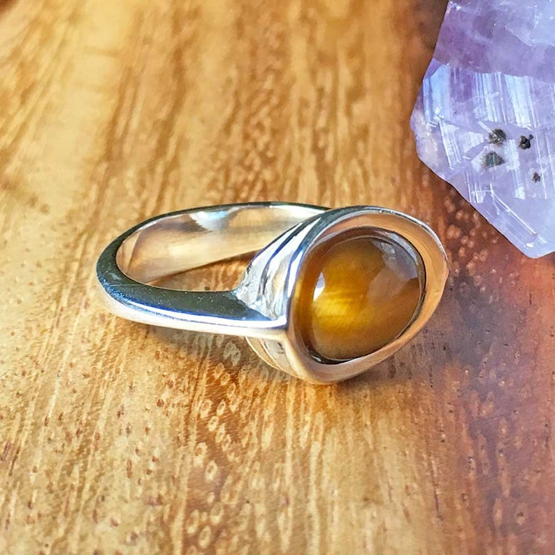 Tiger Eye Ring Sterling Silver Ring Tiger Eye Jewellery Gemstone Ring Womens Ring Womens Jewellery minimalist Jewellery Handmade Ring TSR109