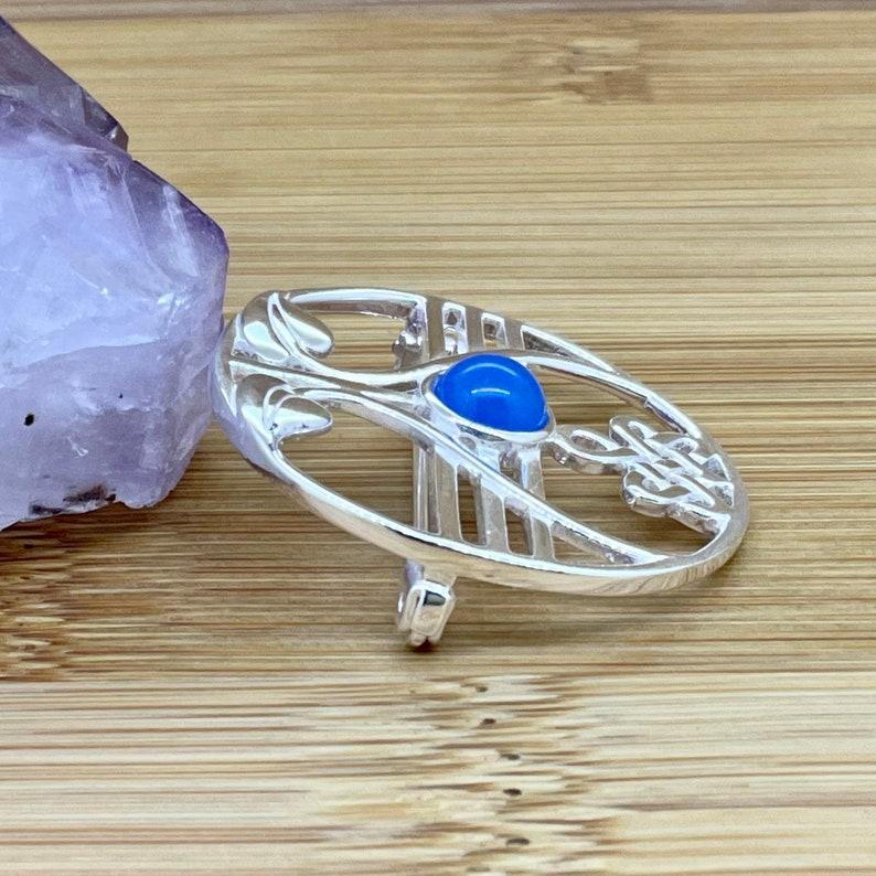Blue Onyx Sterling Silver Brooch Women/'s Jewellery Ladies Brooch UK Seller Natural Gemstone Onyx Jewellery Handmade Gift Present For Her