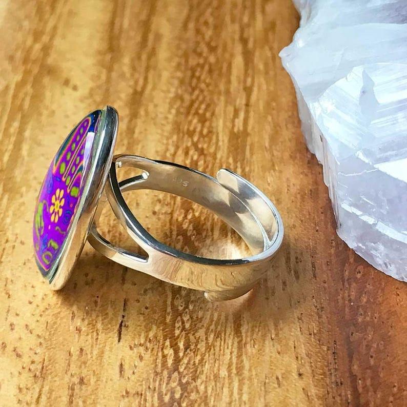 Hamsa Ring Evil Eye Ring Sterling Silver Ring 925 Silver Ring 925 Silver Jewellery Adjustable Ring Statement Ring Womens Ring For Her STSR44