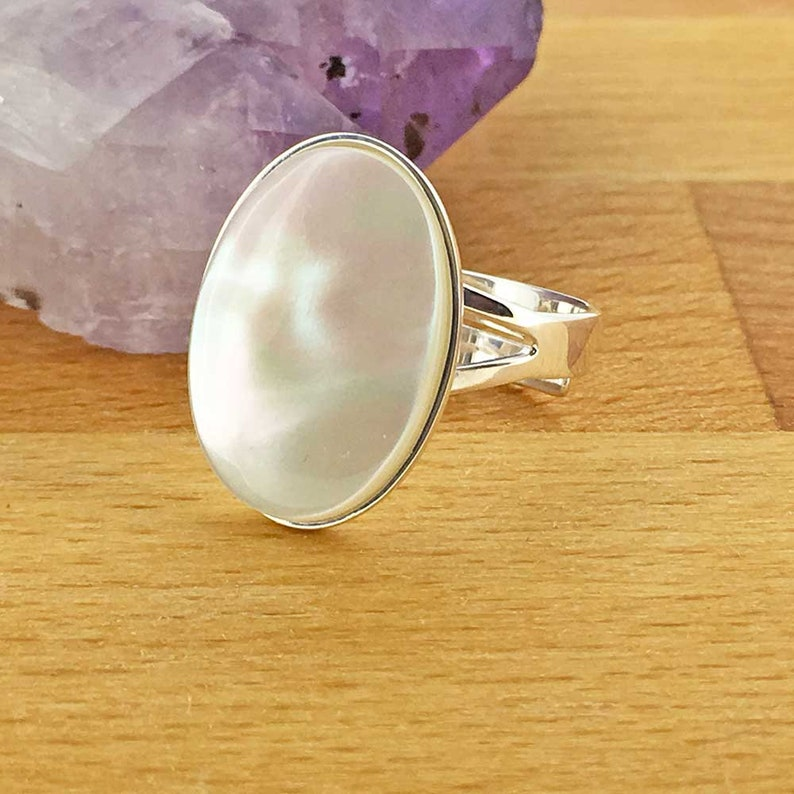 Mother of Pearl Ring Women Ring UK Seller Shell Jewellery Adjustable Ring Sterling Silver Ring Minimalist Jewellery Handmade Gift For Her