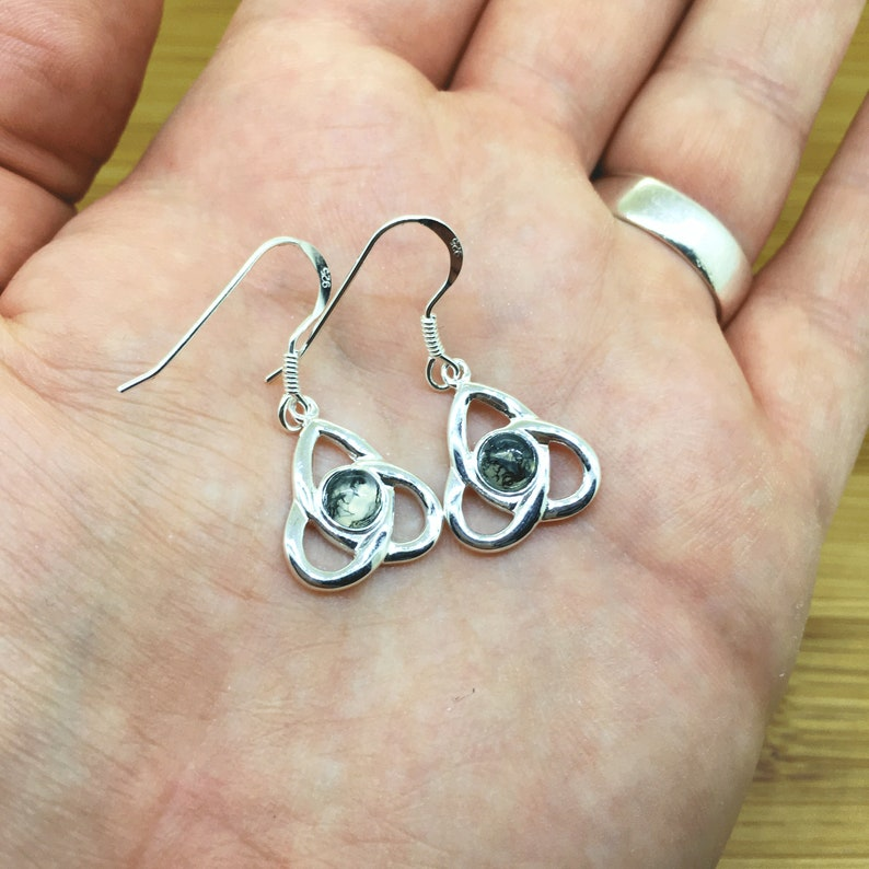 Green Moss Agate Sterling Silver Celtic Earrings Triquetra Studs Natural Moss Agate Drop Earrings Celtic Jewellery Handmade Gift For Her