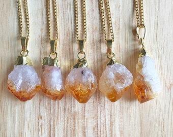 Citrine Pendant Citrine Necklace Crystal Pendant Raw Citrine Jewellery Womens Pendant Womens Jewellery Girlfriend Gift Handmade For Her